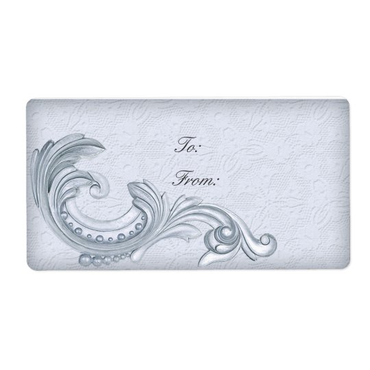 Personalised Labels Vintage Lace Decorative Silver
