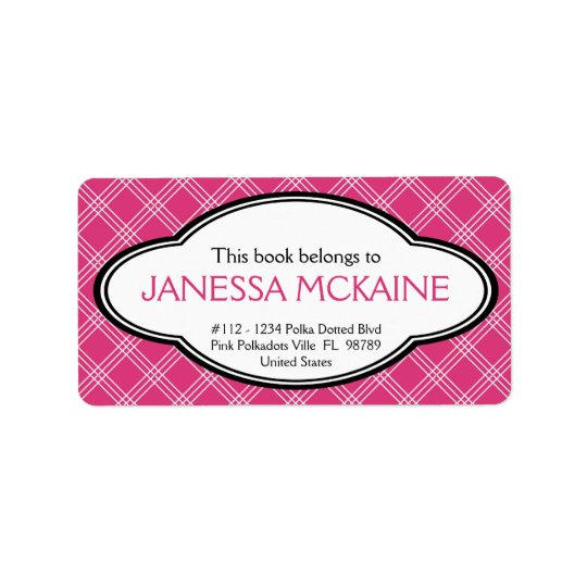 Personalised Ladies Bookplate Sticker Pink White