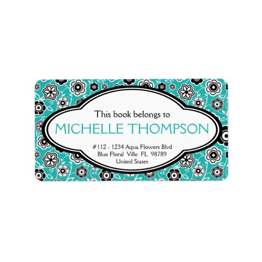 Personalised Ladies Doodle Flowers Bookplate Aqua Address Label