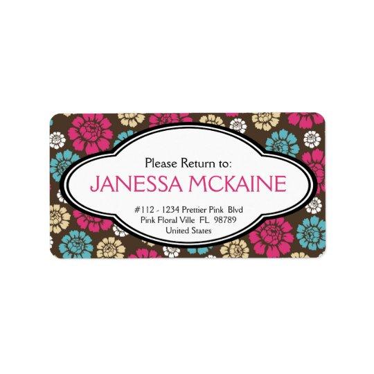 Personalised Ladies Pink Brown Blue Floral Sticker