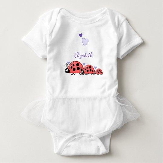 Personalised ladybirds purple baby bodysuit