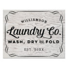 Personalised Laundry Wash Dry Fold on Rustic Wood Poster