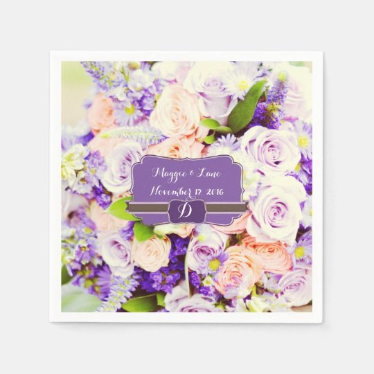 Personalised Lavendar Floral Wedding Napkins Disposable Serviettes
