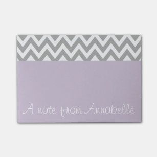 Personalised Lavender Grey Post It Notes