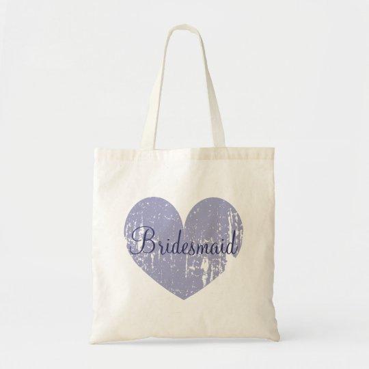 Personalised lavender heart bridesmaid tote bags