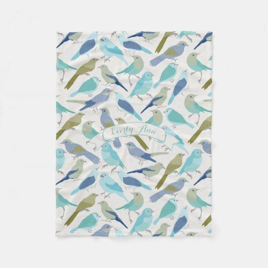 Personalised Lavender Serenity Blue Bird Pattern Fleece Blanket