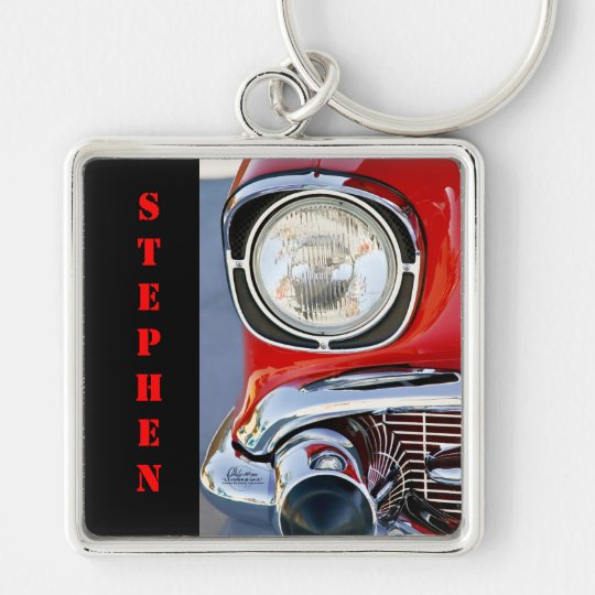Personalised Leather & Lace Classic Car Silver-Colored Square Key Ring
