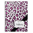 Personalised Leopard Purple Black White Notebook