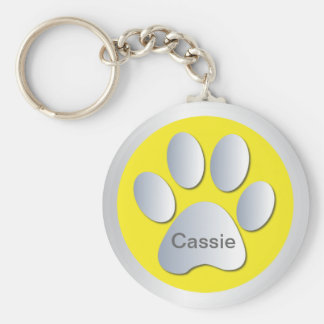 Personalised letter C dogs name tag paw print Basic Round Button Key Ring