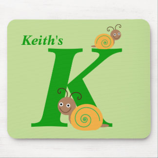 Personalised letter K and name fun snail mousepad