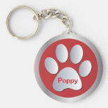 Personalised letter P dogs name tag paw print Basic Round Button Key Ring