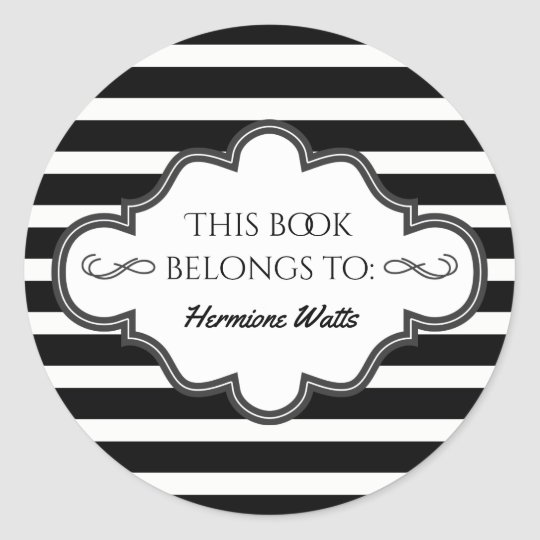 Personalised Library Bookplate Black Stripes Classic Round