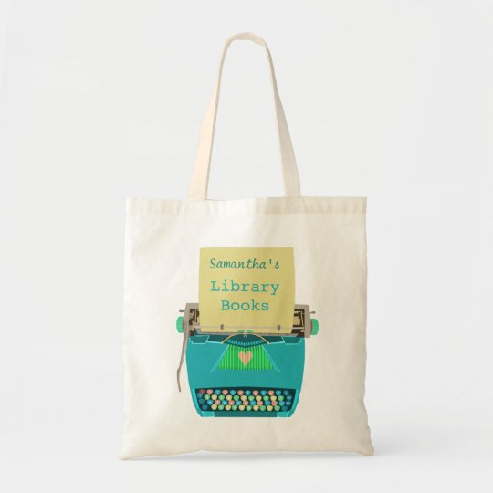 Personalised Library Books Cute Aqua Typewriter