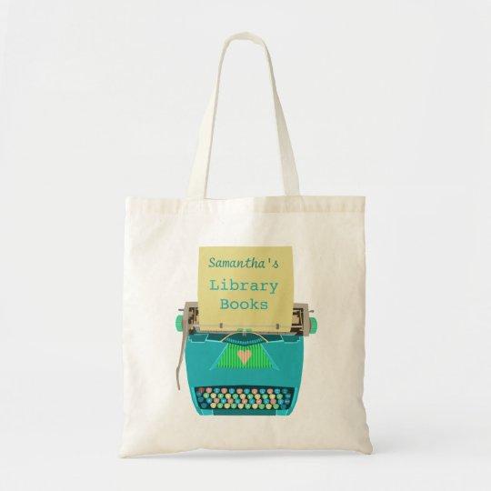 Personalised Library Books Cute Aqua Typewriter Tote Bag