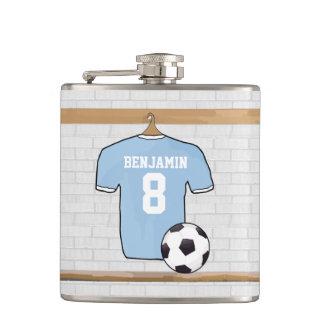 Personalised Light Blue Football Soccer Jersey Flasks