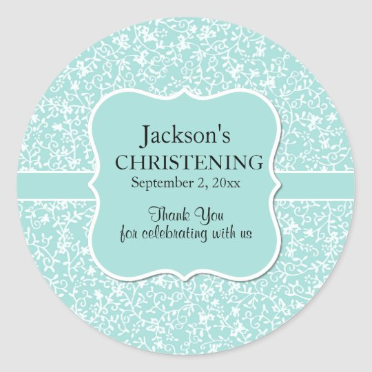 Personalised Light Blue & White Floral Christening Classic