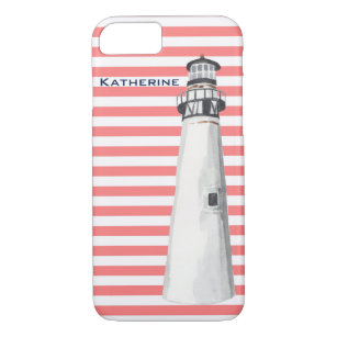 Personalised Lighthouse on Coral Stripe Case-Mate iPhone Case