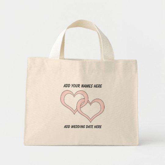 Personalised Linked Hearts Wedding Tote Bag