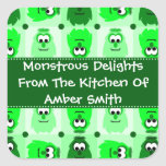Personalised Little Monster Pattern Labels Square Sticker