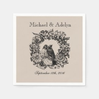 Personalised Love Birds Wreath Wedding Napkins Paper Napkins