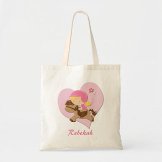 Personalised Love Horseriding Pink Heart Budget Tote Bag