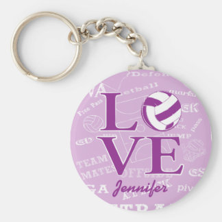 Personalised love netball design basic round button key ring