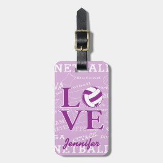 Personalised love netball design luggage tag