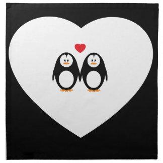 Personalised Love Penguins Printed Napkin