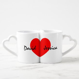 Personalised lovers mug set with name of couple