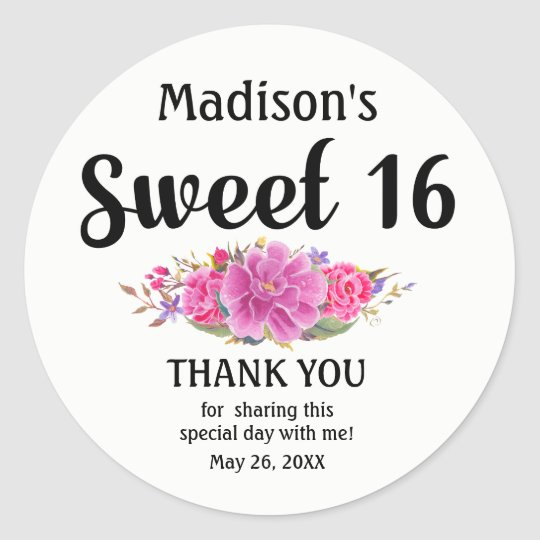 Personalised lPink Floral Sweet Sixteen Birthday Classic Round Sticker