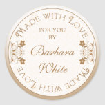 Personalised Made with Love Labels Tags Gold Flora