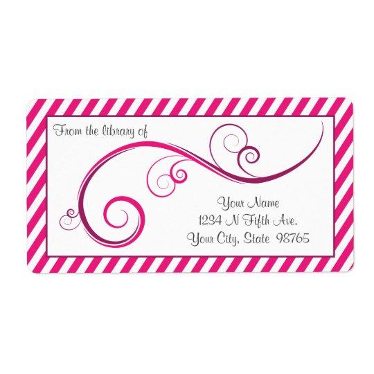 Personalised Magenta Swirl Bookplate