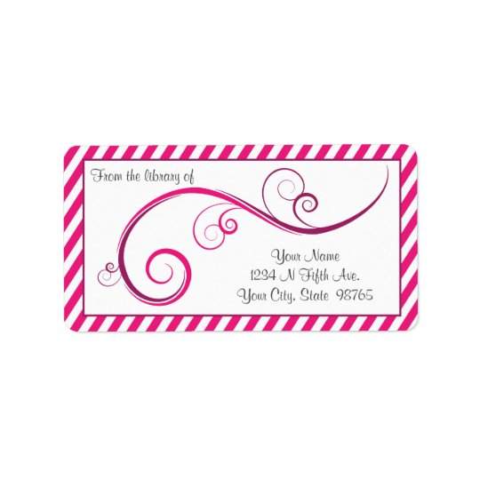 Personalised Magenta Swirl Bookplate Label