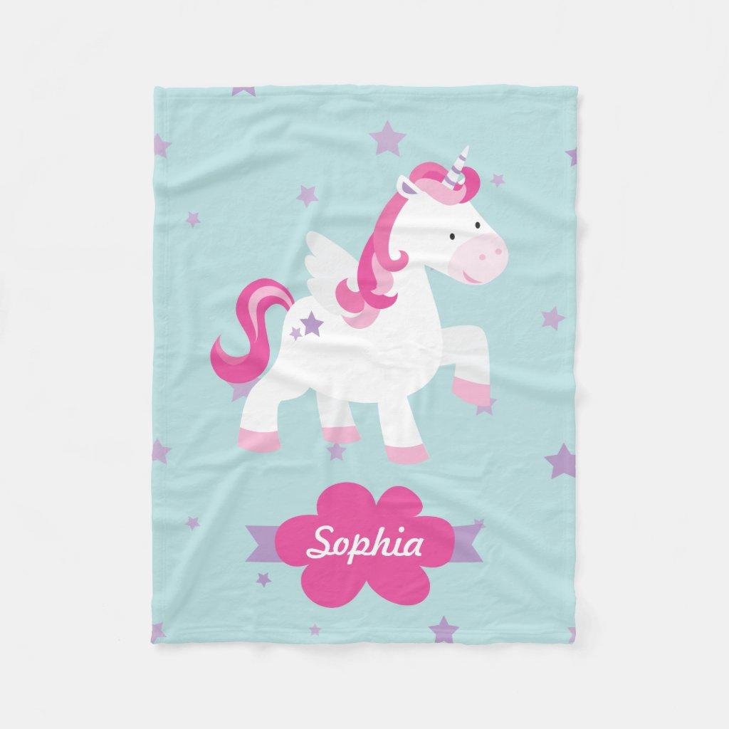 Personalised Magical Unicorn Fleece Blanket