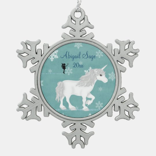 Personalised Magical White Unicorn and Fairy Snowflake Pewter