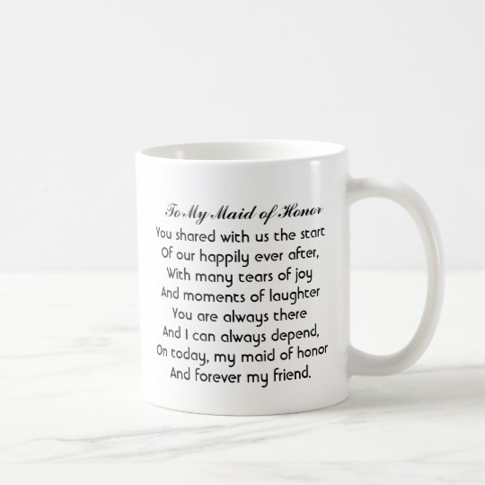 "Personalised ""Maid of Honour"" Mug with poem"
