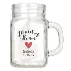 Personalised Maid of Honour Wedding Bridal Mason Jar