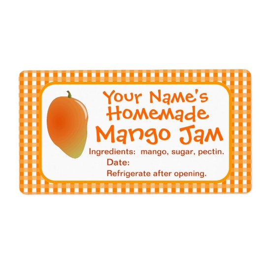 Personalised Mango Jam Canning Jar Labels Stickers
