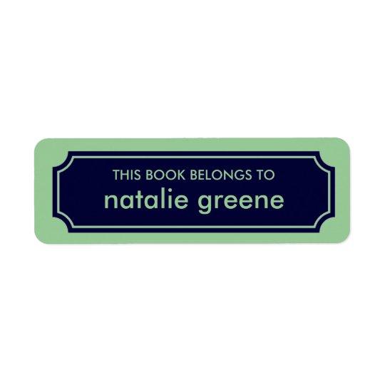 Personalised Mansard Bookplate Label, Navy / Green