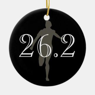 Personalised Marathon Runner 26.2 Keepsake Black Round Ceramic Decoration