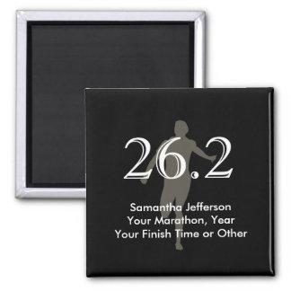 Personalised Marathon Runner 26.2 Keepsake Black Square Magnet