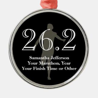 Personalised Marathon Runner 26.2 Keepsake Medal Silver-Colored Round Decoration