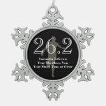Personalised Marathon Runner 26.2 Keepsake Medal Pewter Snowflake Decoration