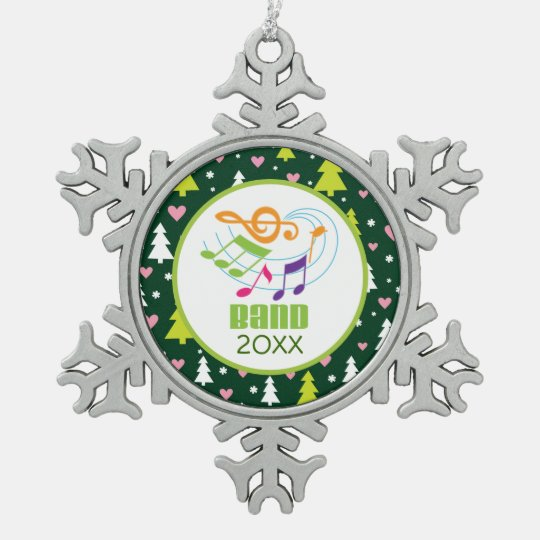 Personalised Marching Band Music Christmas Gift Snowflake Pewter Christmas Ornament
