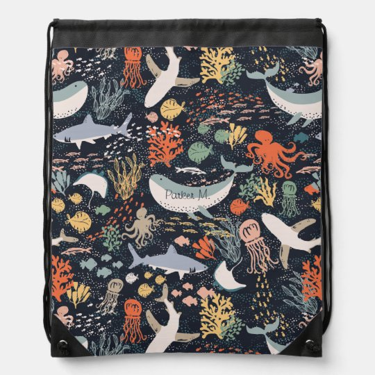 Personalised | Marine Life Drawstring Bag