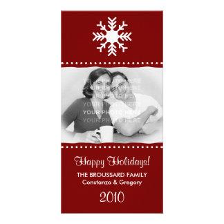 Personalised Maroon Snowflake Holiday Photo Cards