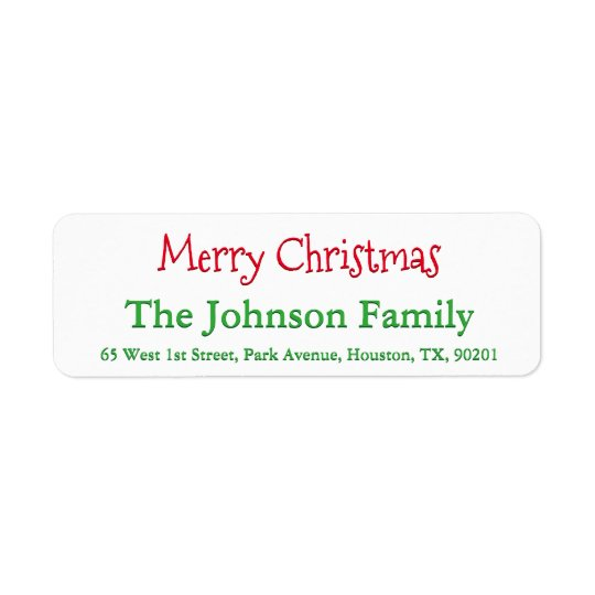 Personalised Merry Christmas Return Address Label
