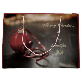 Personalised Merry Christmas Wife design Large Gift Bag