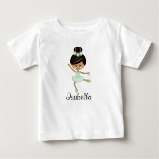 Personalised Mint African American Ballerina Baby Baby T-Shirt