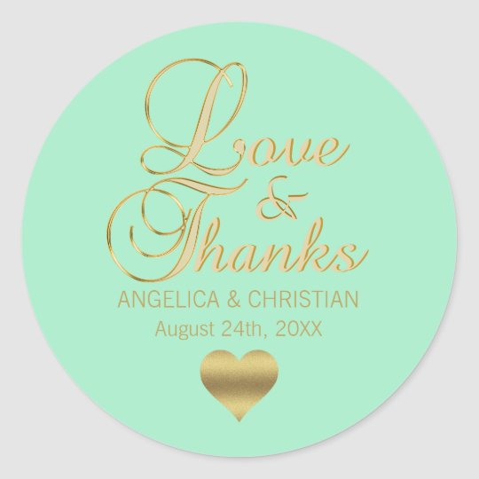 Personalised MINT Gold LOVE & THANKS Wedding Classic